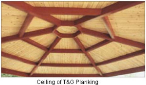 Ceiling of T&G Planking