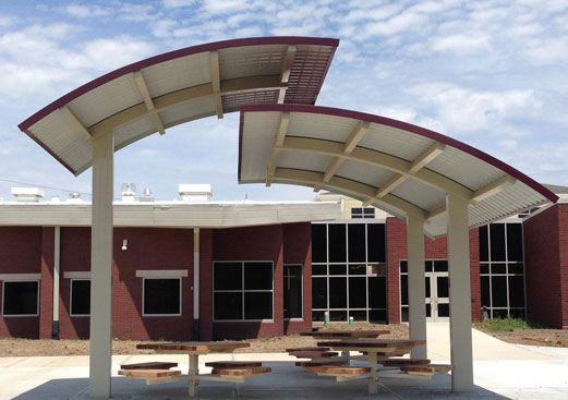 Custom Walkway Cover - Steel Shade Structure