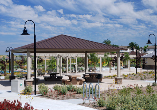 Square Hip Roof Park Picnic Shelter