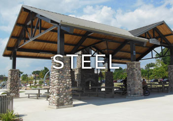 Steel shade structures poligon open air shade shelters for Metal sun shade structures