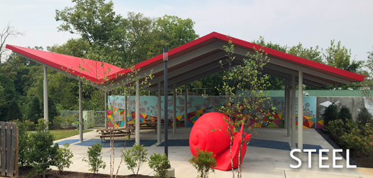 free standing pavilion in parks and squares